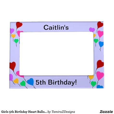 5th Birthday Heart Balloon Lavender Magnetic Frame
