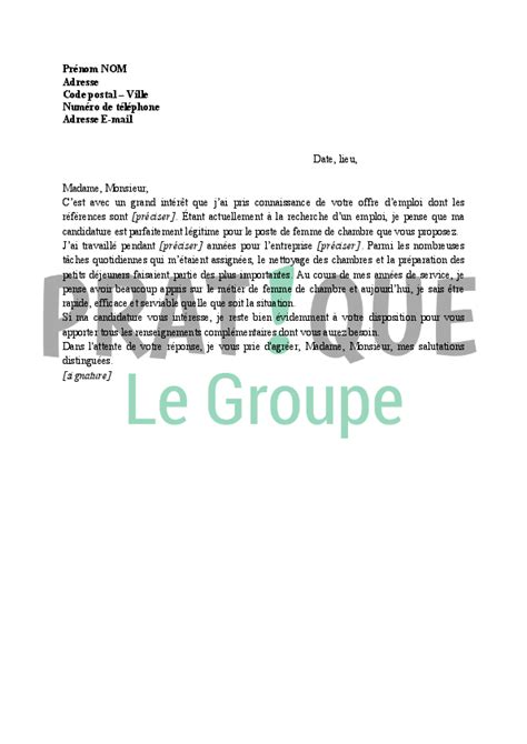 lettre motivation valet de chambre application letter sle modele de lettre de motivation