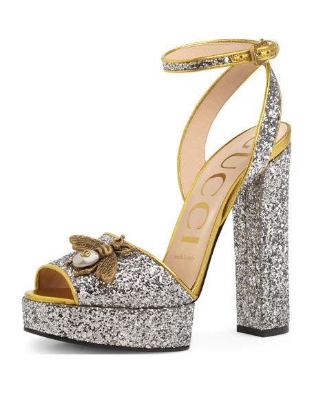 Gucci Soko Glittered Ankle-Wrap Platform Sandal, Silver