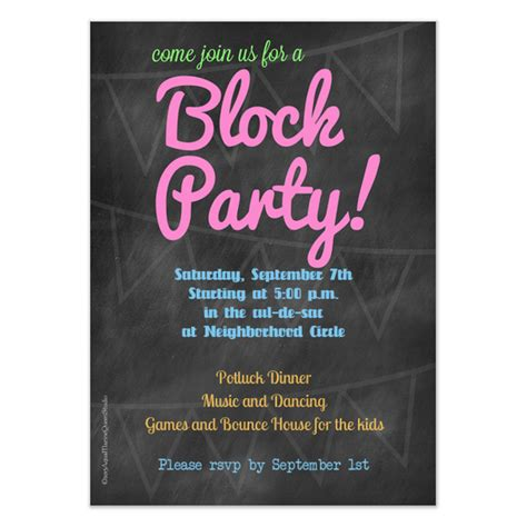 chalkboard block party invitation invitations cards