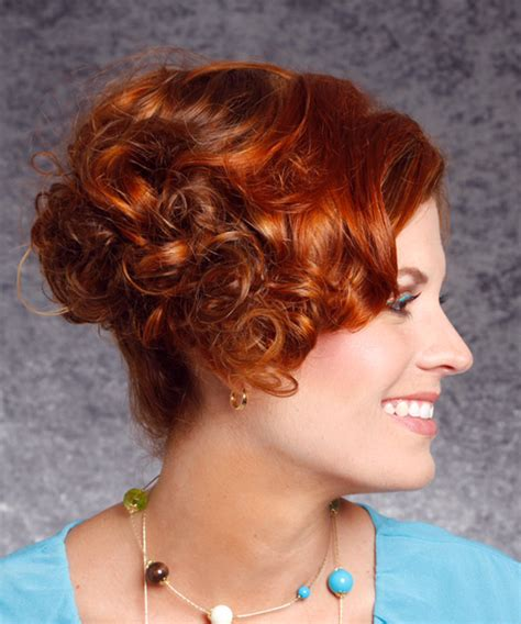 formal short curly hairstyle dark copper red hair color