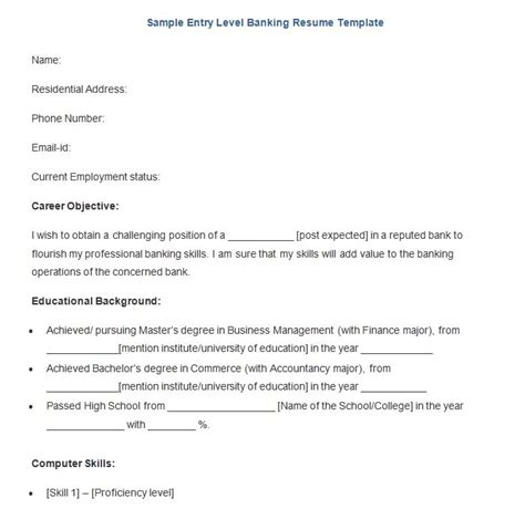 Entry Level Banking Resume Objective Exles by Banking Resume Template 21 Free Sles Exles