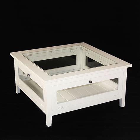 armoire basse de bureau table basse bois massif blanche avec plateau verre made