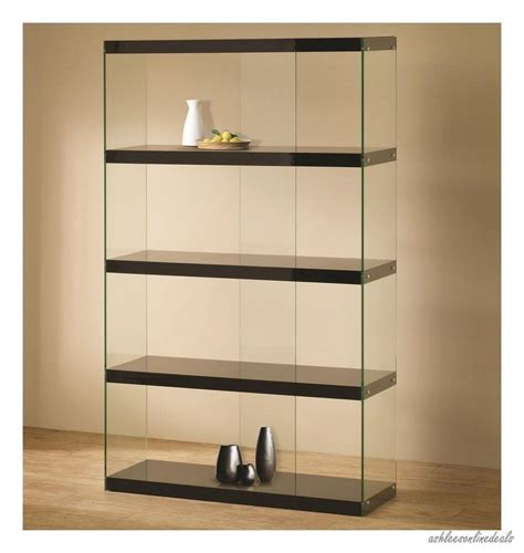 Living Room Shelves Cabinets by New Black Glass Curio Furniture Display Cabinet