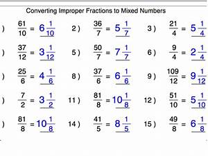 Converting Improper Fractions Into Mixed Numbers ...