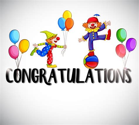 congratulations template congratulations card template with clowns in background vector premium