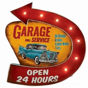 Enseigne Lumineuse Vintage : enseigne r tro garage rouge et orange avec clairage 7 led design vintage ~ Teatrodelosmanantiales.com Idées de Décoration