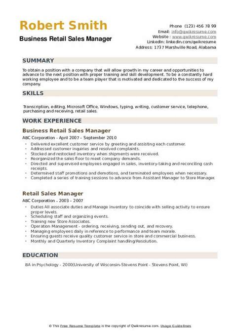 Retail Sales Manager Resume Exles by Retail Sales Manager Resume Sles Qwikresume