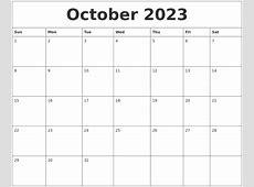 October 2023 Printable Calendar Templates