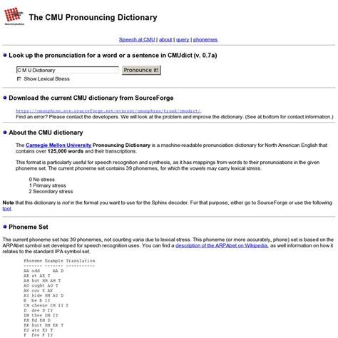the cmu pronouncing dictionary dictionaries pinterest