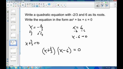 6 3 exle 2 write the quadratic equation given the roots youtube