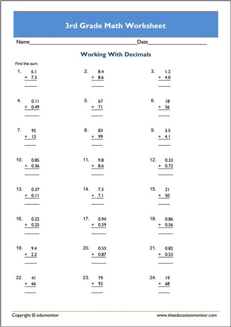 grade rocket math worksheets archives edumonitor