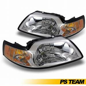 1999-2004 Ford Mustang Headlights Headlamps Replacement Chrome LH + RH Pair Set | eBay