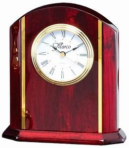 Personalized, Rosewood, Desk, Clock, With, Gold, Accents