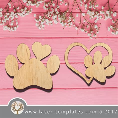 laser cut dog paws template  laser ready vector