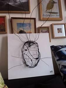Sculpture Murale Design : troph e t te de lapin grand mod le sculpture murale en fil de fer noir sur cadre 3d 40 cm x 40 ~ Teatrodelosmanantiales.com Idées de Décoration