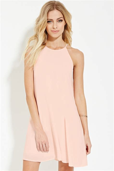 a line denim dress lyst forever 21 contemporary a line dress in pink