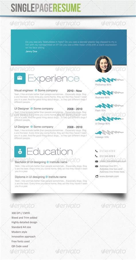 What Side Of Resume Paper To Print On by Simple Resume 4 Graphicriver