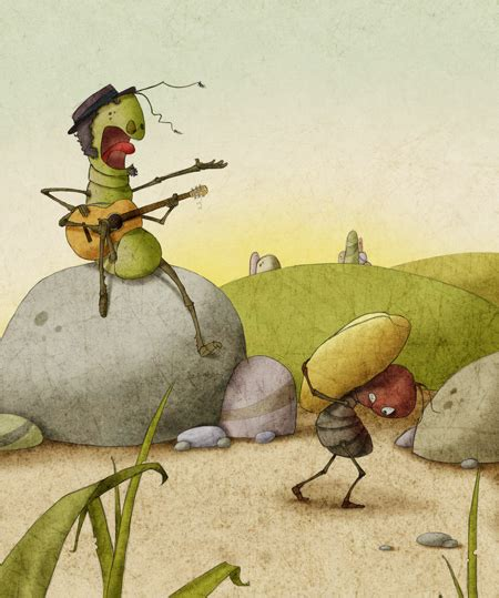 the ant and the grasshopper on behance