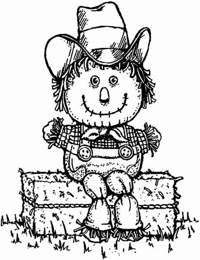 Scarecrow Coloring Hay Clipart Pages Hayride Halloween
