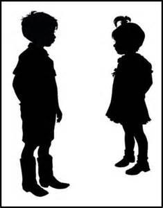 Children Sitting Silhouette