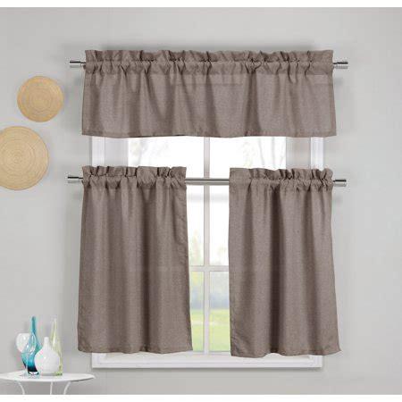 piece faux cotton espresso brown kitchen window curtain