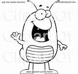 Flea Clipart Waving Cartoon Coloring Outlined Vector Cory Thoman Royalty sketch template