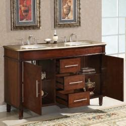 55 Inch Vanity Sink - silkroad exclusive travertine top 55 inch sink
