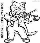 Violin Coloring Pages Fiddle Cat Playing Cats Sheet Colour Print Colorings Popular sketch template