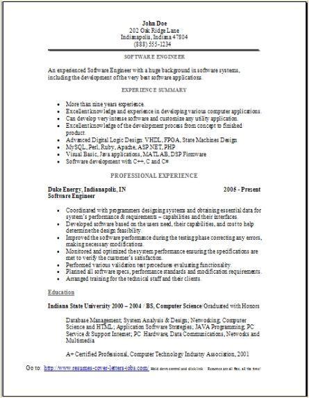 software engineer resume sle occupational exles