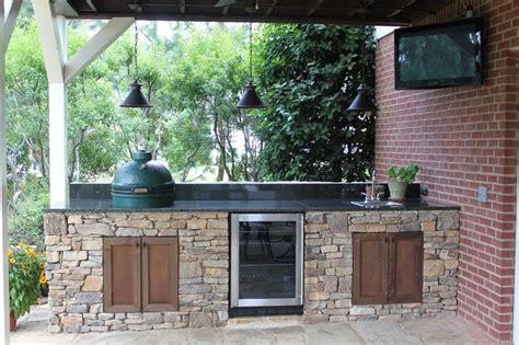 big green egg island outdoor kitchen  fire pit  hoover al birmingham landscaping