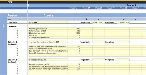 okr template free okr exle template with ppp and kpi for startups in sheets