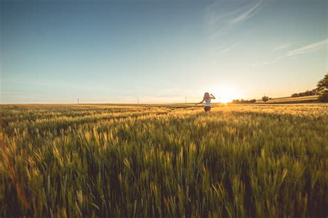 young woman running through wheat field on sunset free