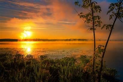 Sunrise Morning Lake Fog Sun Dog Wallpapers