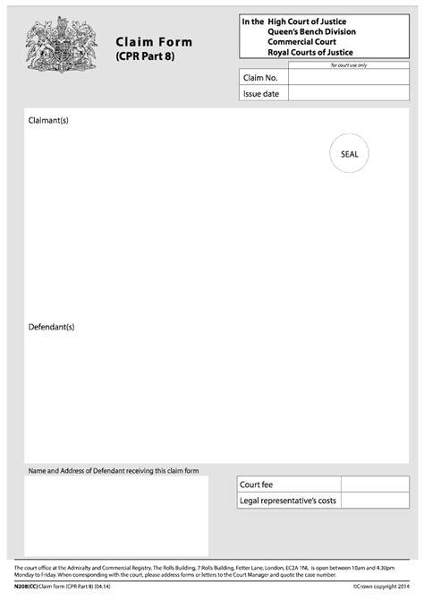 commercial court claim form n1cc n208 cc claim form cpr part 8 commercial court