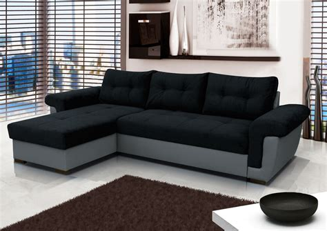 Second Bed Settees by Corner Sofa Bed With Large Storage Black Fabric Grey