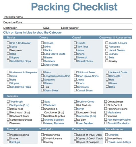travel packing list template 16 sle packing checklist templates to sle templates
