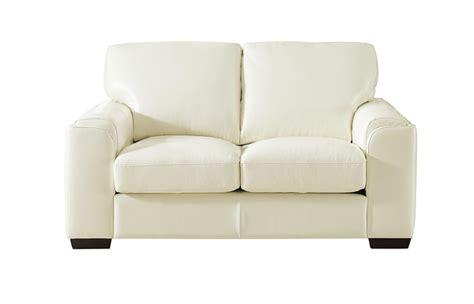 White Leather Loveseat by Suzanne Top Grain Ivory White Leather Loveseat