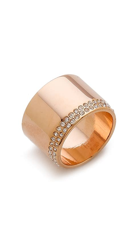 Vita Fede Cigar Crystal Band Ring - Rose Gold/Clear in
