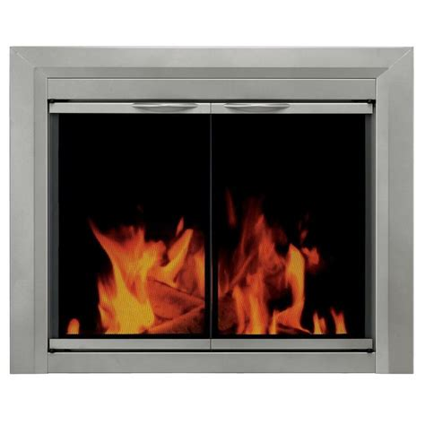 fireplace with glass doors pleasant hearth colby sunlight nickel small cabinet style