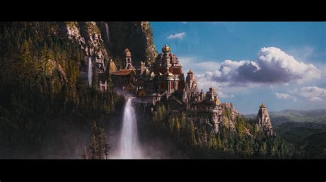 fantasy castle  waterfall background hd wallpaper
