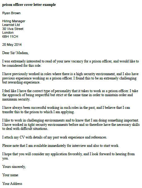 Correctional Officer Cover Letter by Prison Officer Cover Letter Exle Learnist Org