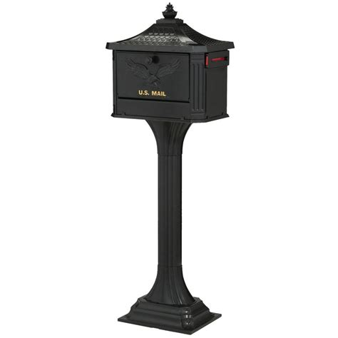 gibraltar mailboxes pedestal mailbox  post combo black