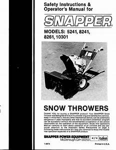 Snapper Snow Blower 8241 User Guide