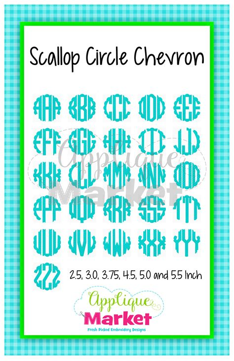 scallop circle monogram chevron fill