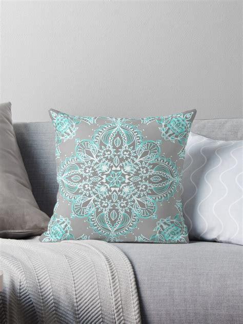 teal  aqua lace mandala  grey throw pillows