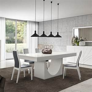 table repas contemporaine pied central laque ou bois carrie With table cuisine contemporaine design