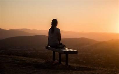 Alone Bench Solitude 4k Sunset Background Ultra