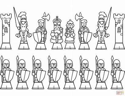 Chess Coloring Pieces Ajedrez Para Xadrez Pages