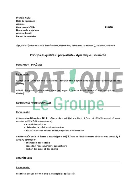 lettre pour cuisine modèle de cv pour un stage d hôtesse d accueil pratique fr
